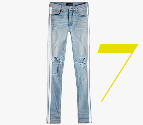 Amiri Track distressed striped jeans