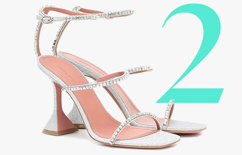 Amina Muaddi Gilda glitter crystal sandals