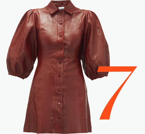Photo: Ganni leather balloon sleeve dress